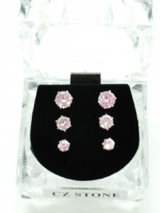 3 Assorted size Studs in Crystal Box